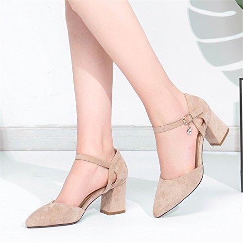 Puntiagudos Altos Mujer 36 Tacones Gruesa Palabra Boca una Zapatos de Huecos Baja Zapatos Zapatos Primavera Hebilla Negro 5wRHxq44Y