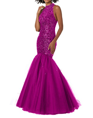 Abendkleider Langes Charmant Promkleider Abschlussballkleider Meerjungfrau Perlen Damen Champagner Pink mit qwwSTCI
