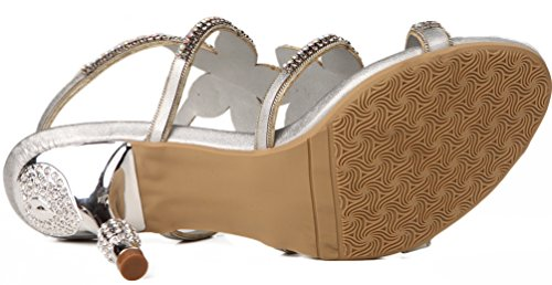 Salabobo L001 Womens Fashion Sandals Stilettos Glaring Beautiful Pretty Performance Leisure Heels Silver StMv42Kfaj
