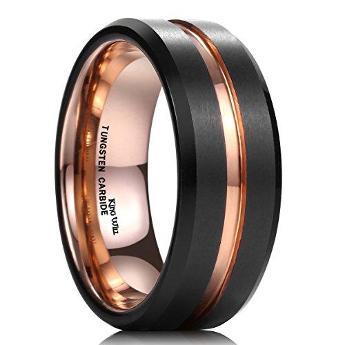 King+Will+Mens+8mm+Black+Matte+Finish+Tungsten+Carbide+Ring+18K+Rose+Gold+Plated+Beveled+Edge+Wedding+Band%2810%29