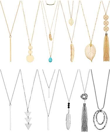 Hicarer 12 Pieces Long Pendant Necklace Set Y Tassel Leaf Circle Bar Necklace for Women