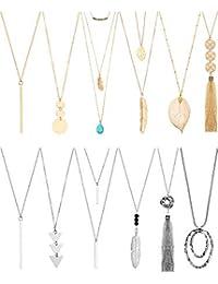 12 Pieces Long Pendant Necklace Set Y Tassel Leaf Circle Bar Necklace for Women