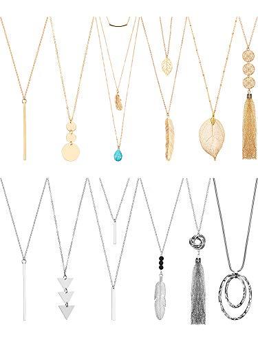 Hicarer 12 Pieces Long Pendant Necklace Set Y Tassel Leaf Circle Bar Necklace for Women (Tassel)