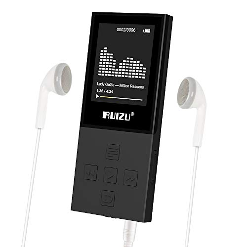 RUIZU X18 Mp3 Player with Bluetooth, Music Player with FM Radio, 100hrs Playback, and 128GB Expandable, Independent Volume Button, Black