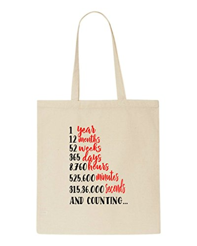 Countdown Engagement Bag Tote Party Beige Shopper Wedding Gift One Year FxnvHH