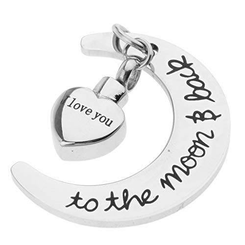 (I Love You to The MoonBack Cremation Pendant Urn Pet Keepsake Moon Heart)