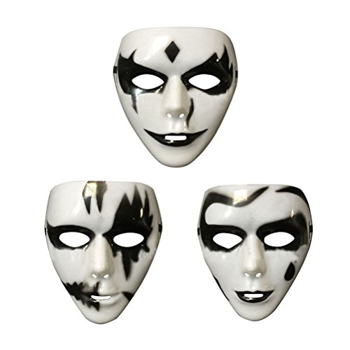 Tinksky Halloween Masquerade/Costume/Cosplay Party Plastic Hand-painted White Ghost Horror Gothic Mask with Adjustable Strap 3 designs for male Halloween Costumes Style random (Painted Halloween Masks)