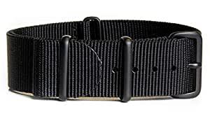 NATO Strap Solid Black - Black PVD Hardware 18mm