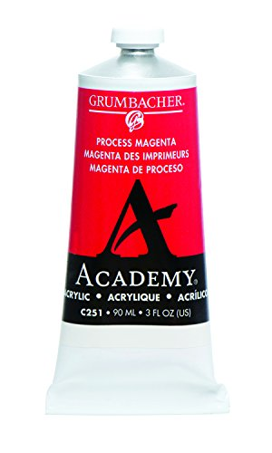 Grumbacher Academy Acrylic Paint, 90ml/3 oz Metal Tube, Process Magenta