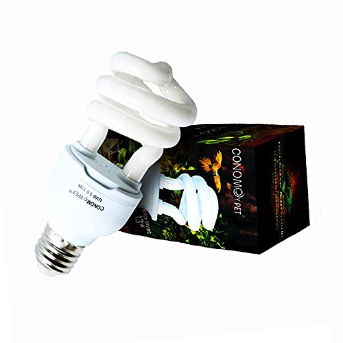 CONOMOYPET UVB Reptile Light Bulb, Compact Fluorescent Tropical Terrarium Lamp for Reptile Amphibian Calcium Supplement, 13 Watts (5.0 for Tropical)
