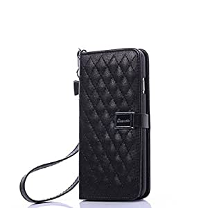 Iphone 6 Plus 5.5 Wallet Case, Phenix-Color Luxury Wallet Genuine Leather Flip Case Cover with Card Slots for Apple Iphone 6 Plus 5.5 Inch (Black)