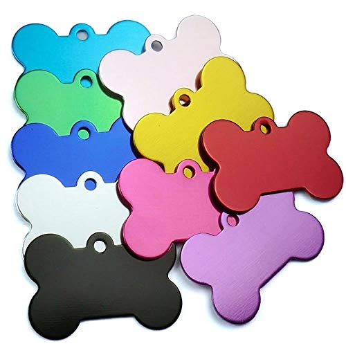 Monrocco 20 Pcs Pet ID Tag Bone Shape Double Sided Dog Cat Pet Name Phone Number ID Tag Charm Personalized, 38MM