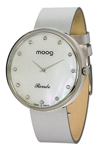 Moog Paris Ronde Vogue Women's Watch with White Mother of Pearl Dial, Interchangable Silver Strap in Genuine Leather - M41671-117