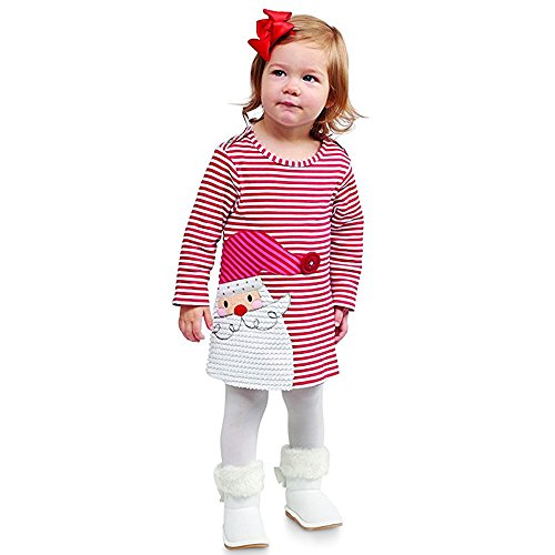 G-real Baby Girls Dress, Toddler Kids Baby Girls Striped Princess Dress Christmas Outfits Clothes+Fall Winter (Red, -