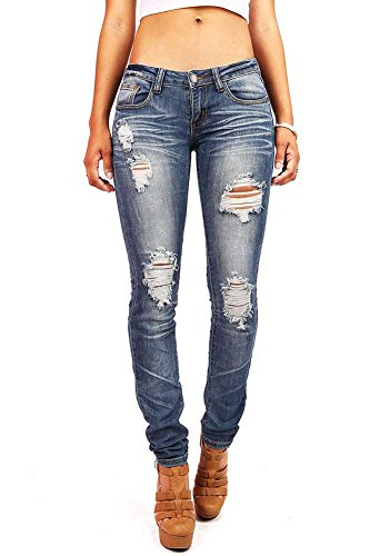Low Rise Plus Size Jeans (Machine Women's Juniors Low Rise Distressed Skinny Jeans (17), Faded Denim,)