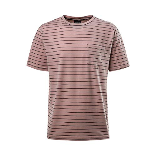 Asysst Men's Fashion Stripes Spandex T-Shirts Short Sleeve Crewneck Classic Comfort Soft Casual Striped Tees Top Pink Large ()
