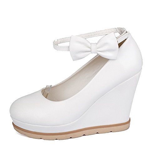 Heels Pumps WeenFashion Solid High Toe Closed Round PU Women's Buckle White Shoes wntzxRqanT