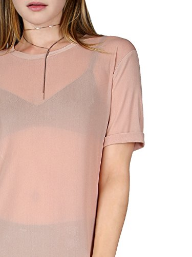 12c636e8ca MakeMeChic Women's Short Sleeve See Through Sheer Mesh T Shirt Dress