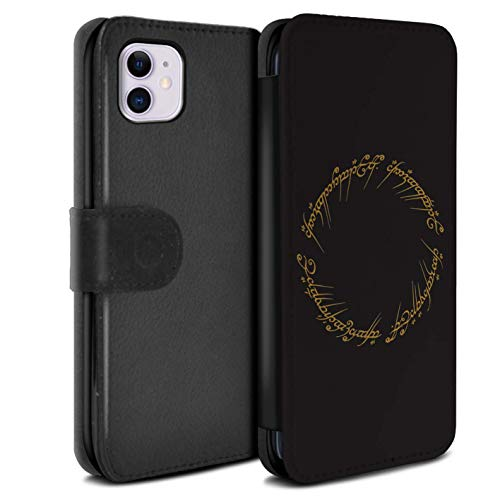 eSwish PU Leather Wallet Flip Case/Cover for Apple iPhone 11 / The One Ring Design/LOTR Fantasy Inspired Collection (Lord Of The Rings Wallet Phone Case)