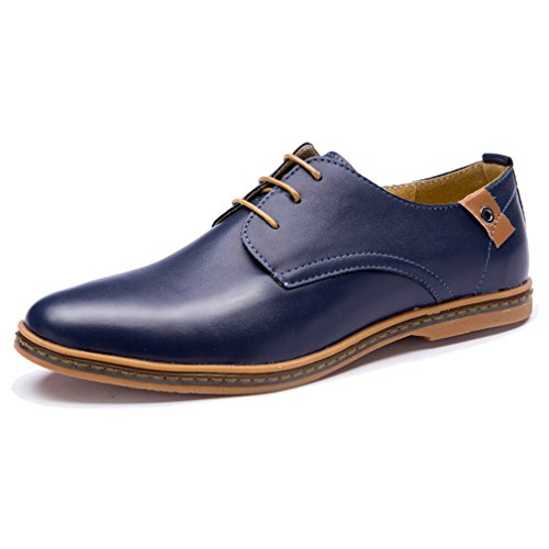XMWEALTHY Mens Casual Pointed Toe Shoes Breathable Oxford Shoes Blue 6HKuD3G6