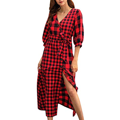 Women Bright Plaid V-Neck Leisure Solid Half Sleeve Vintage High Split Dress ()