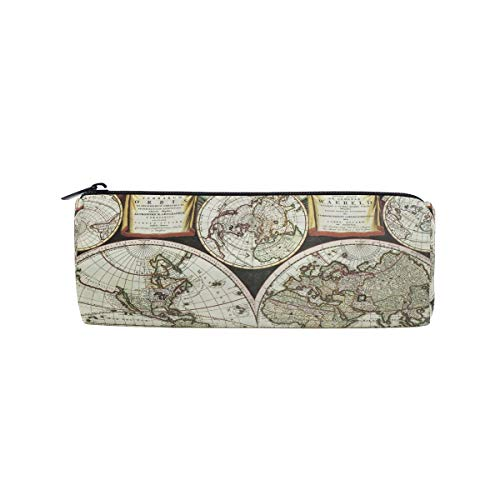 Vintage Old World Map Pen Case School Pencil Holders Kids Drum Large Capacity Pouch Makeup Cosmetic Boxes Office Travel -