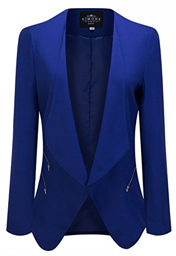 [HIMONE Women's Chic Draped Padded Shoulder Side Zipper Open-Front Blazer Royal Blue 12] (Daria Costume)
