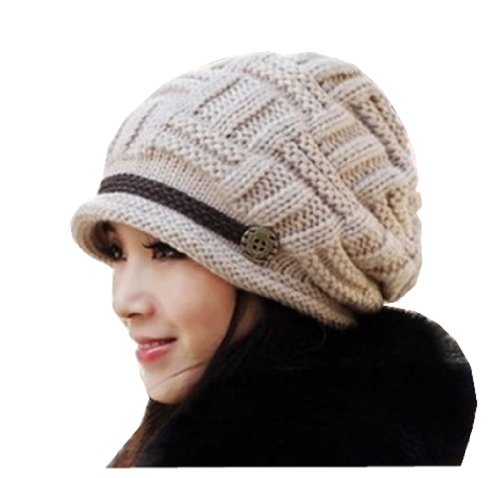 Beige Women Lady Beanie Crochet Hat,fashion Women's Winter Warm Knit Wool Beanie Hat, Crochet Cap