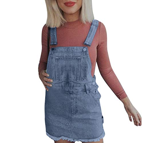 Sttech1 Women Girl Denim Jeans, Sleeveless Dungaree Pinafore Slim Mini Short Dress Blue ()