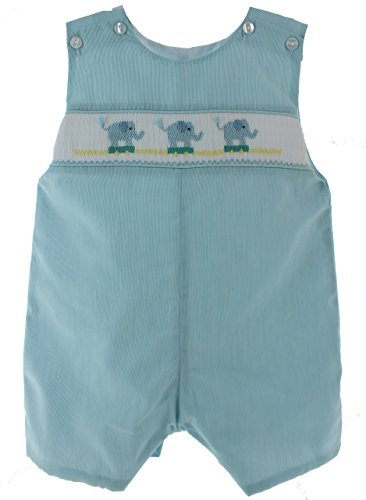 [Infant Boys Smocked Outfit with Elephants Zoo Romper 12M] (Smocked Zoo)