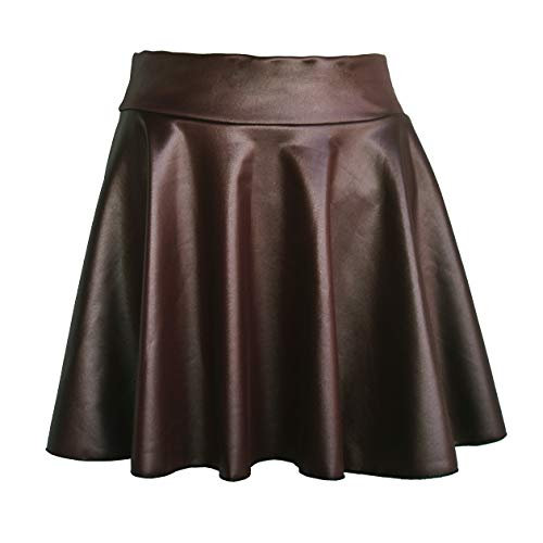 TOOTO Women's Faux Leather Casual Fashion Stretchy Flared Pleated A-Line Circle Mini Skater Skirt (Coffee, L)