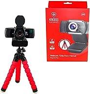 Webcam HD 720P Foco Manual, Tripé e Porteção de Lente - KE-WBM720P, Kross Elegance, Preto