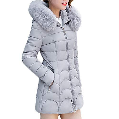 Invernale Pelliccia Giacche Cappotto Cappotti Collo Lungo Moda Cappuccio Casuale Di Cotone Donna Con Parka In E Giacca Spesso Caldo Gray Inverno fvwFvq