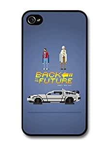 AMAF ? Accessories Back to the Future Game Illustration Marty and Doc with Delorian case for iPhone 4 4S wangjiang maoyi