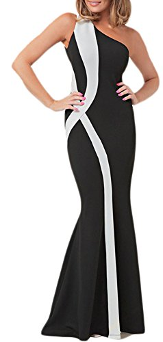 made2envy Colorblock One Shoulder Mermaid Long Evening Dress (XL, Black/White) - Prom Dresses Black White