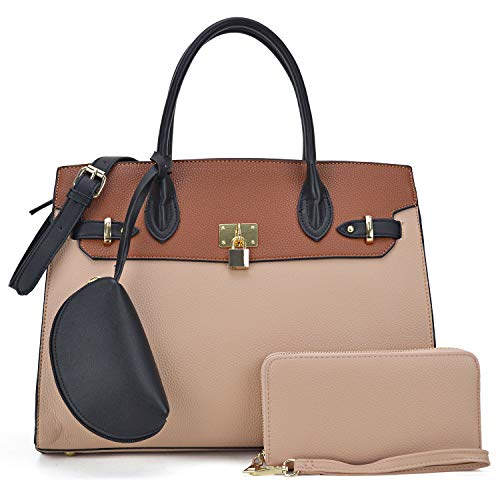 Dasein Women Vegan Leather Handbag Designer Purse Satchel Bag with Crossbody Strap (01 Colorblock 3pcs- Taupe/Brown-1)