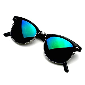 Retro Fashion Half Frame Flash Mirror Lens Semi Rimless Horned Rim Sunglasses