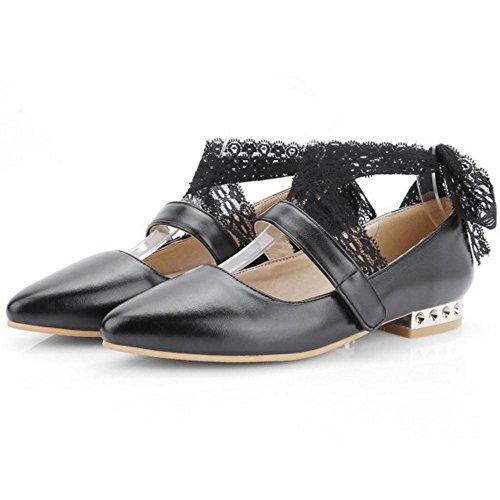 Taoffen Pointu De Cour Femmes Plat 30 Chaussures Bout Noir xEg7Unqwgf