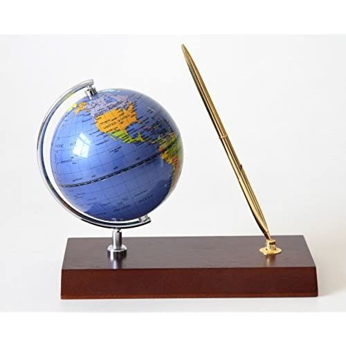 World globe clocks amazon lilys home handcrafted rotating globe executive desk pen set cherry wood base gift set gumiabroncs Image collections