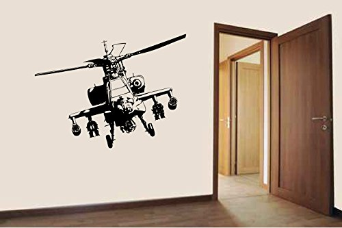 Apache Military Helicopter Silhouette Vinyl Wall Decal Sticker