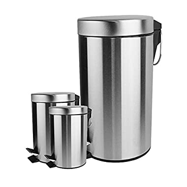 Malmo Stainless Round Steel Kitchen Trash Can with Lid 3 pcs set, 7.9 Gallon+1.3 Gallon+ 0.8 Gallon