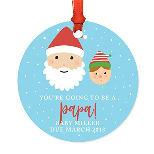 Andaz Press Personalized Pregnancy Announcement Metal Christmas Ornament, You're Going to be a Papa! Baby Miller Due March 2019, Santa and Mrs. Claus with Elf, 1-Pack, Includes Ribbon and Gift Bag -  APP12214