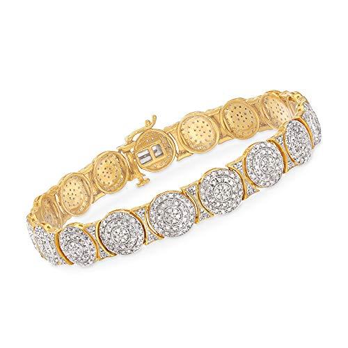 Ross-Simons 2.40 ct. t.w. Diamond Circle Link Bracelet in 18kt Gold Over Sterling