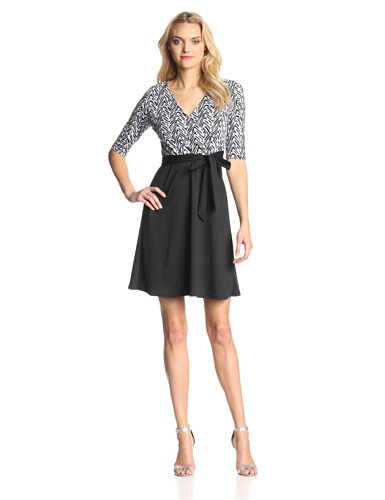 Star Vixen Women's Print Top Solid Skirt Wrap Dress
