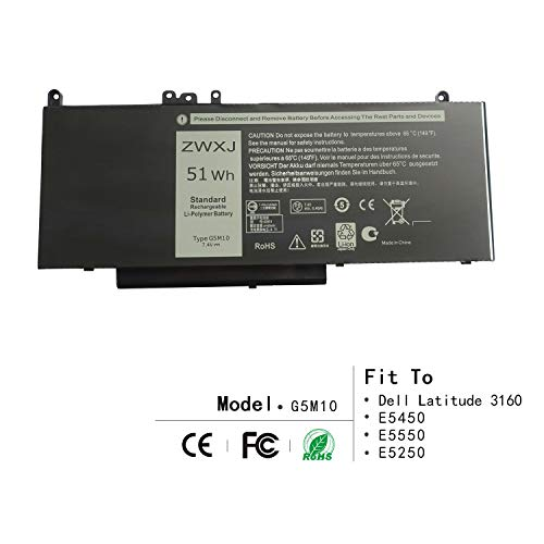 ZWXJ Laptop Battery Type G5M10 (7.4V 51Wh) for DELL Latitude 3160 E5450 E5550 E5250 Notebook 15.6 G5M10 8V5GX R9XM9 WYJC2 0WYJC2 1KY05