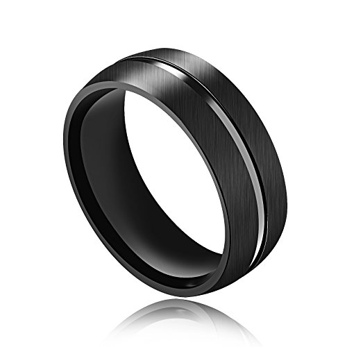 New Mens Titanium Diamond Ring - 8mm Black Titanium Carbide Rings for Men 316L Stainless Steel Polished Finish Grooved Center Comfort Fit Wedding Band Ring