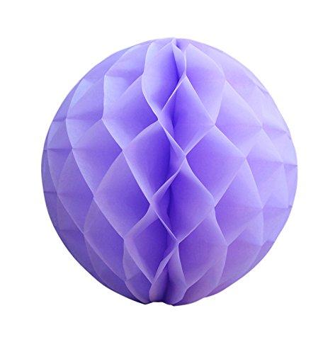 Quasimoon PaperLanternStore.com 12 Inch Lavender Round Tissue Lantern, Honeycomb Ball, Hanging (3 Pack) ()