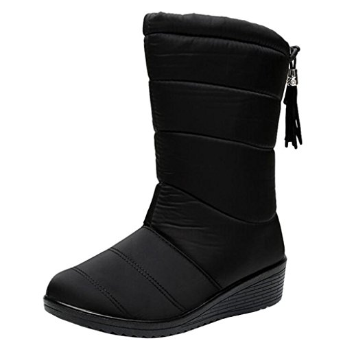 Binying Women's Round-Toe Wedge Heel Speed-Laces Tassel Snow Boots Black z9c28OCSDV