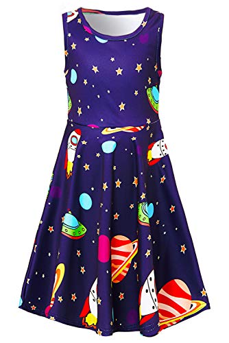 UNIFACO Girls Dresses Round Neck Out Space Rocket