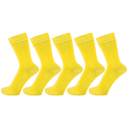 Dark Colour - ZAKIRA Finest Combed Cotton Dress Socks in Plain Vivid Colours for Men, Women - Pack of 5 (Yellow, US 7-12)